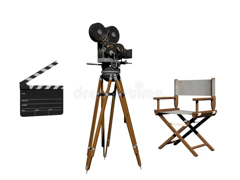 Clap of cinema white and black - 3d rendering. Clap of cinema in white background - 3d rendering stock illustration