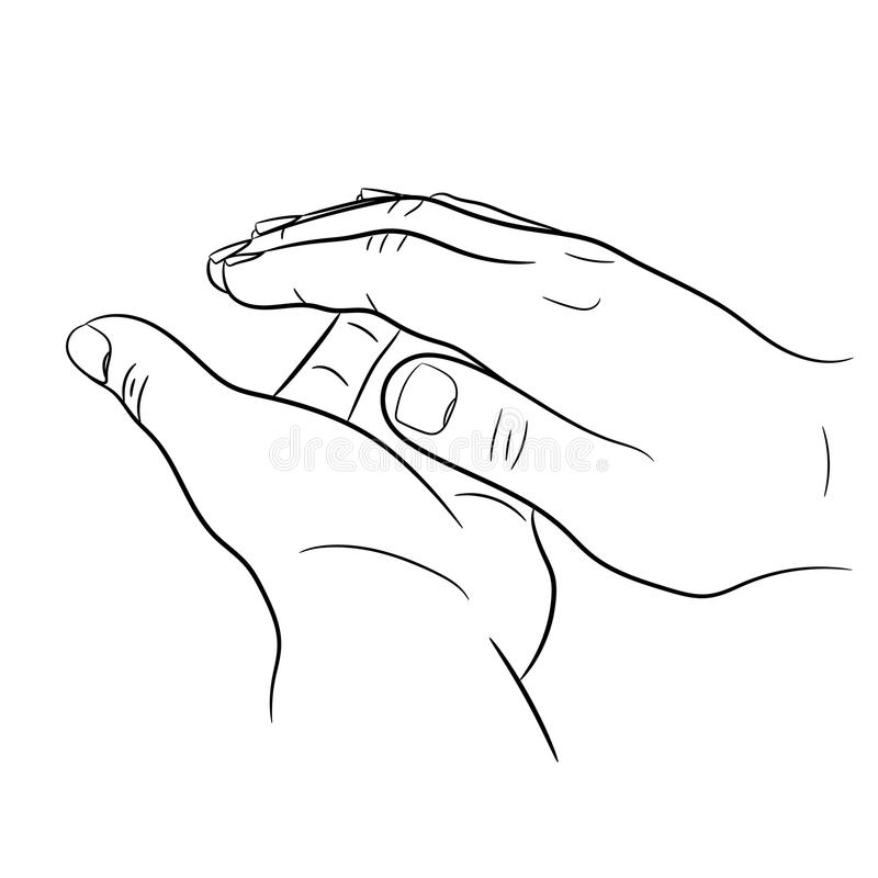 Clap hands on white of monochrome illustration. Clap hands on white background of monochrome illustrations royalty free illustration