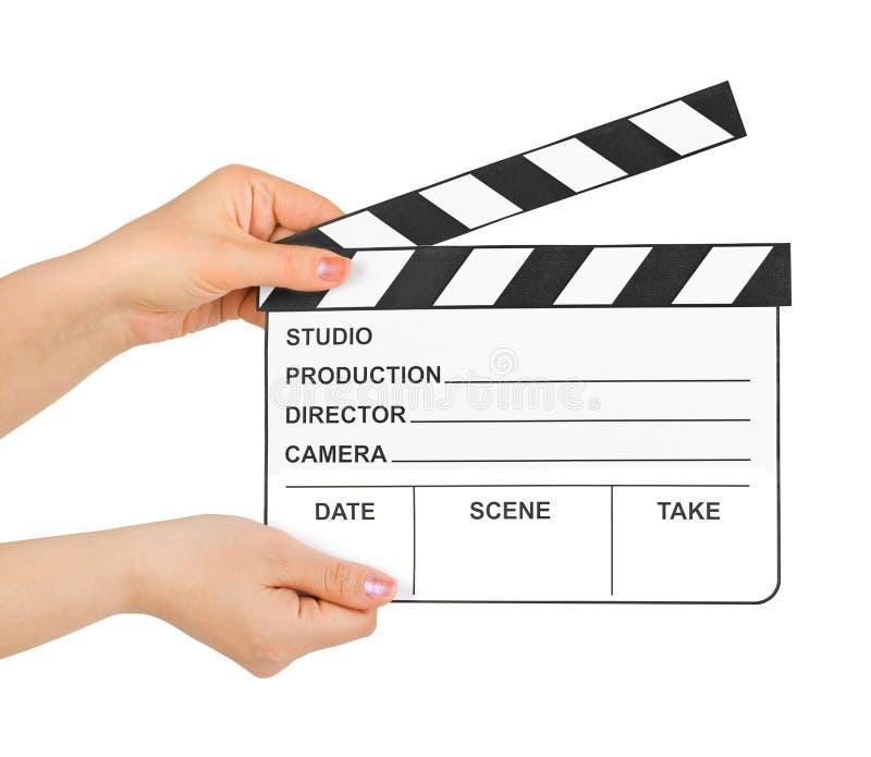 Clapboard κινηματογράφων στα χέρια στοκ φωτογραφίες