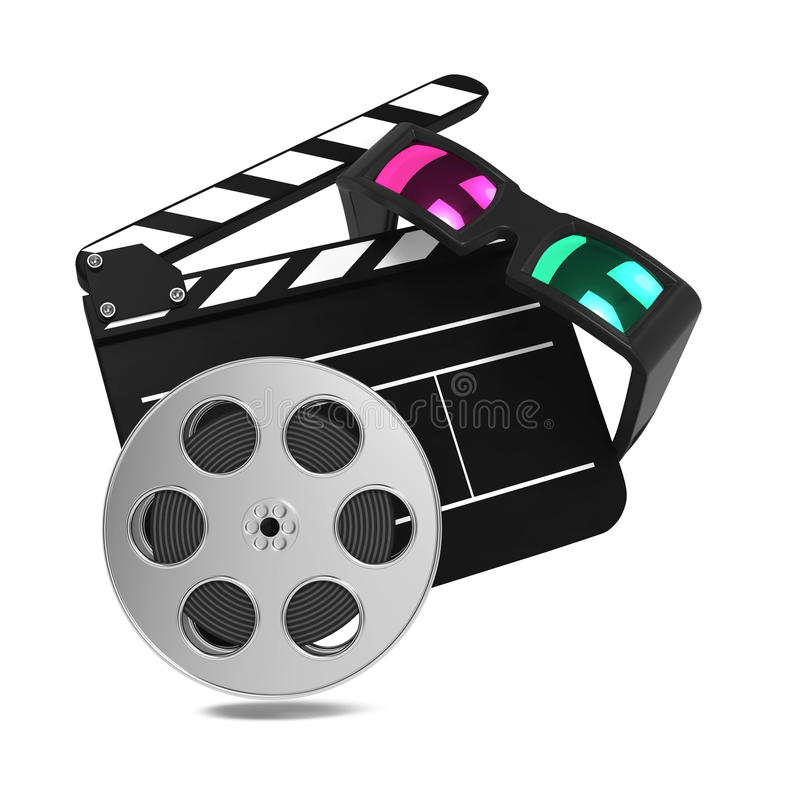 Clapboard with Anaglyph Glasses and Film Reel. Setting Next to Each Other. On white Background stock illustration