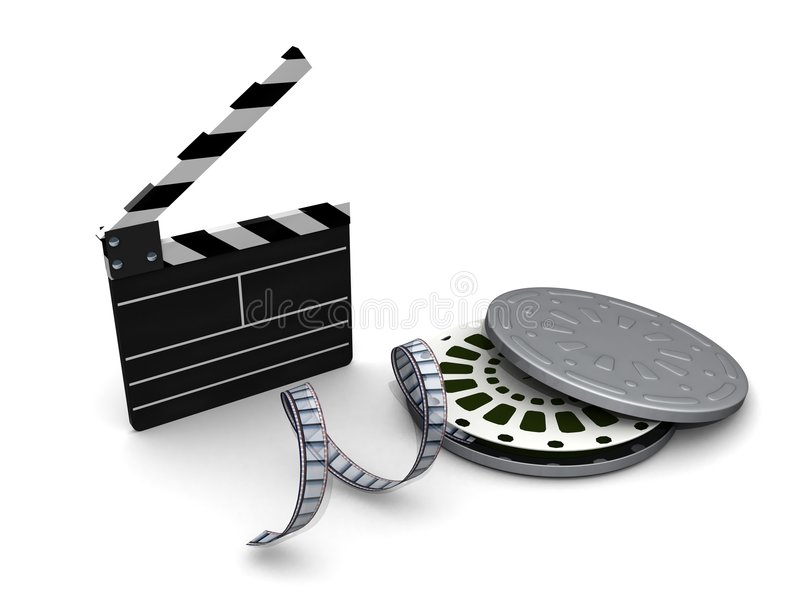 Clapboard film and reel case vector illustration