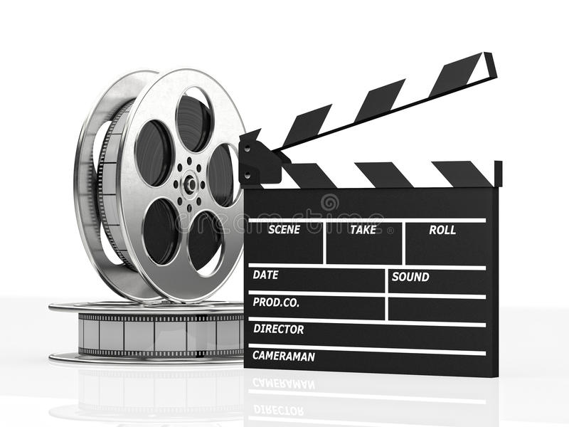 Clapboard and film roll. Cinema concept clapboard and film roll 3d rendering image royalty free illustration