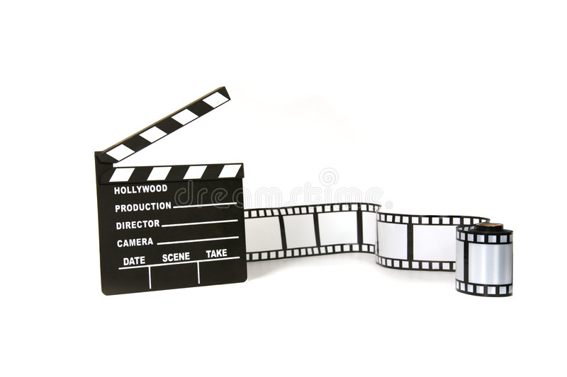 Clapboard and film strip on white background