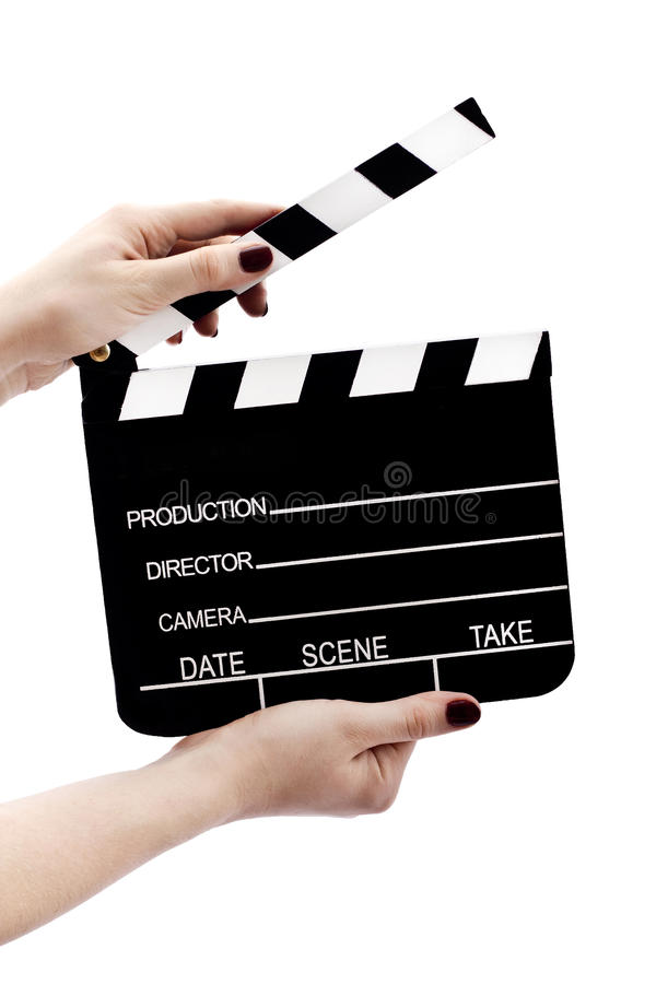 Clapboard in hands stock photos