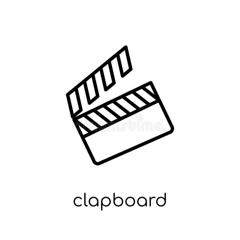 clapboard icon. Trendy modern flat linear vector clapboard icon vector illustration