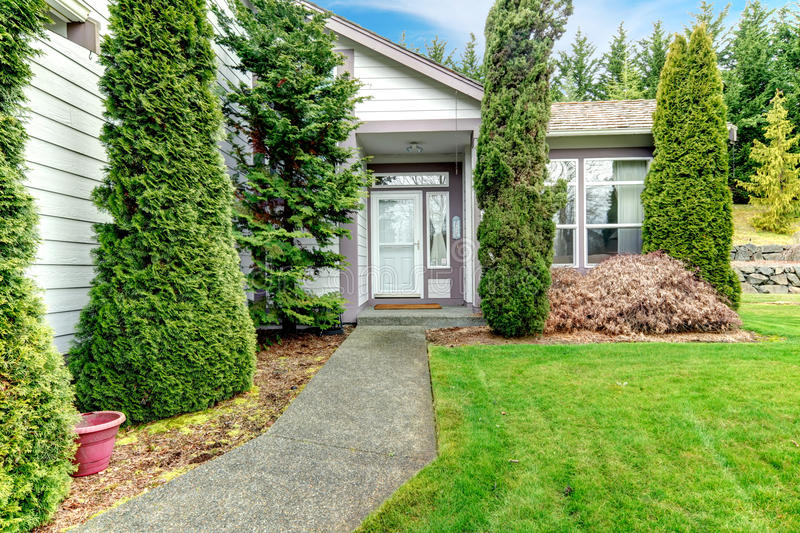 Clapboard siding house. Entrance. Cozy clapboard siding house with conctrete walk way, green lawn and fir trees royalty free stock images