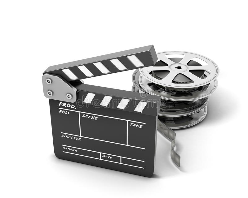 Clapboards and film reel. On white background. 3d illustration royalty free illustration