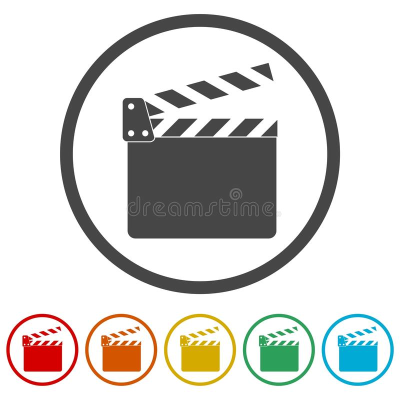 Clapet de film, aileron de film, 6 couleurs incluses illustration de vecteur