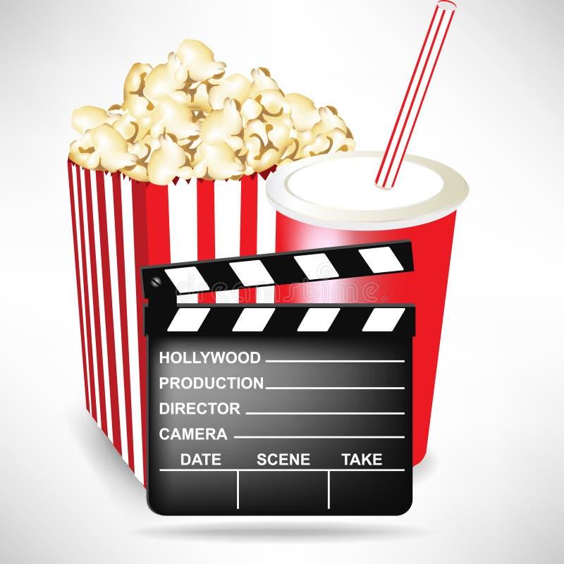 Clapet de film avec le maïs éclaté et le kola illustration libre de droits