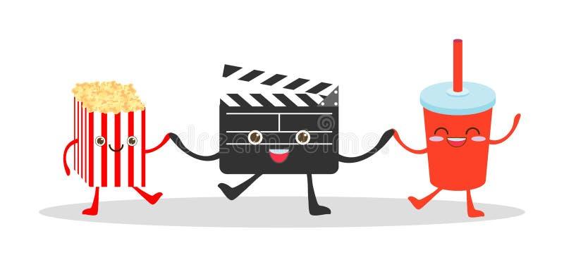 Clapet de film et kola et maïs éclaté sur le fond blanc, illustration observant un film, cinéma, films, vecteur drôle Illustrat d illustration de vecteur