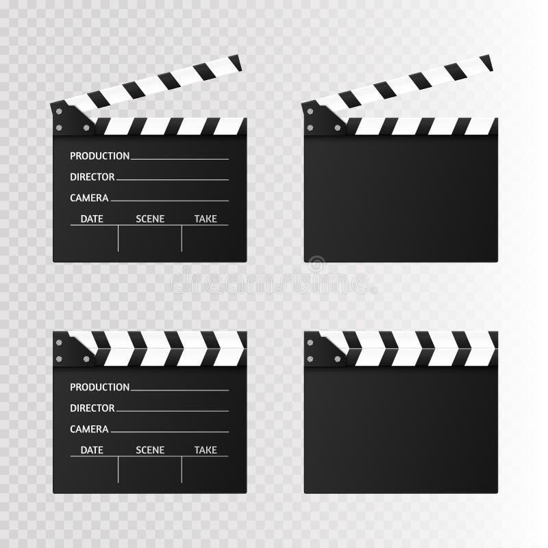 Clapet de film sur le blanc Claquette ouverte de noir Illustration de vecteur illustration stock