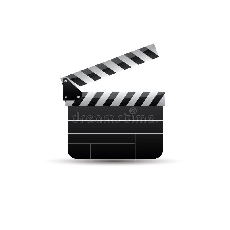 Clapet réaliste cinéma Panneau sur un fond blanc film Temps Illustration de vecteur illustration de vecteur