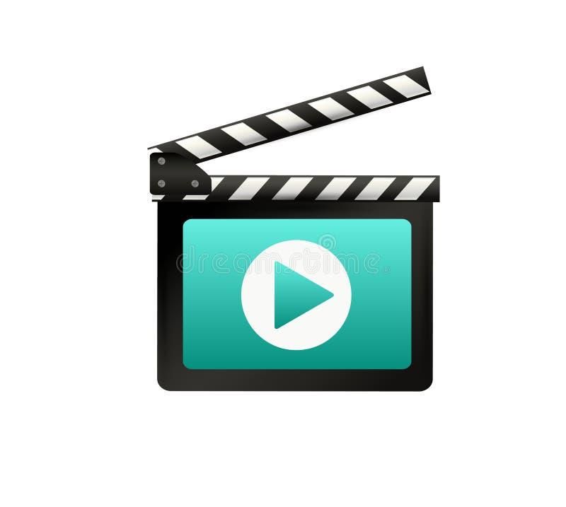 Clapet réaliste cinéma Panneau sur un fond blanc film Temps Illustration de vecteur illustration libre de droits