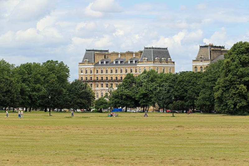 Clapham Common on a Sunday morning. Clapham Common is a large triangular urban park in Clapham, south London. Originally common land for the parishes of royalty free stock photos