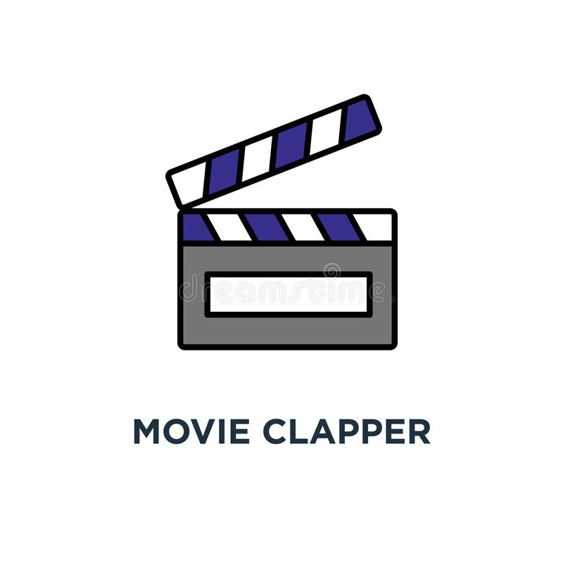 Clapper κινηματογράφων εικονίδιο clapperboard, κινηματογράφος, κινηματογραφία, περίληψη, σχέδιο συμβόλων έννοιας, κινηματογράφος, απεικόνιση αποθεμάτων