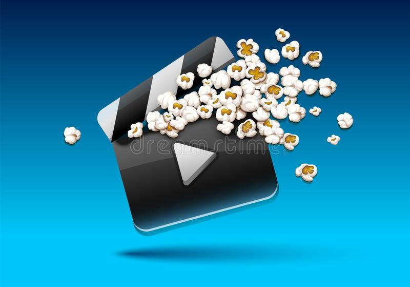 Clapper κινηματογράφων με popcorn το διάνυσμα έννοιας ταινιών απεικόνιση απεικόνιση αποθεμάτων