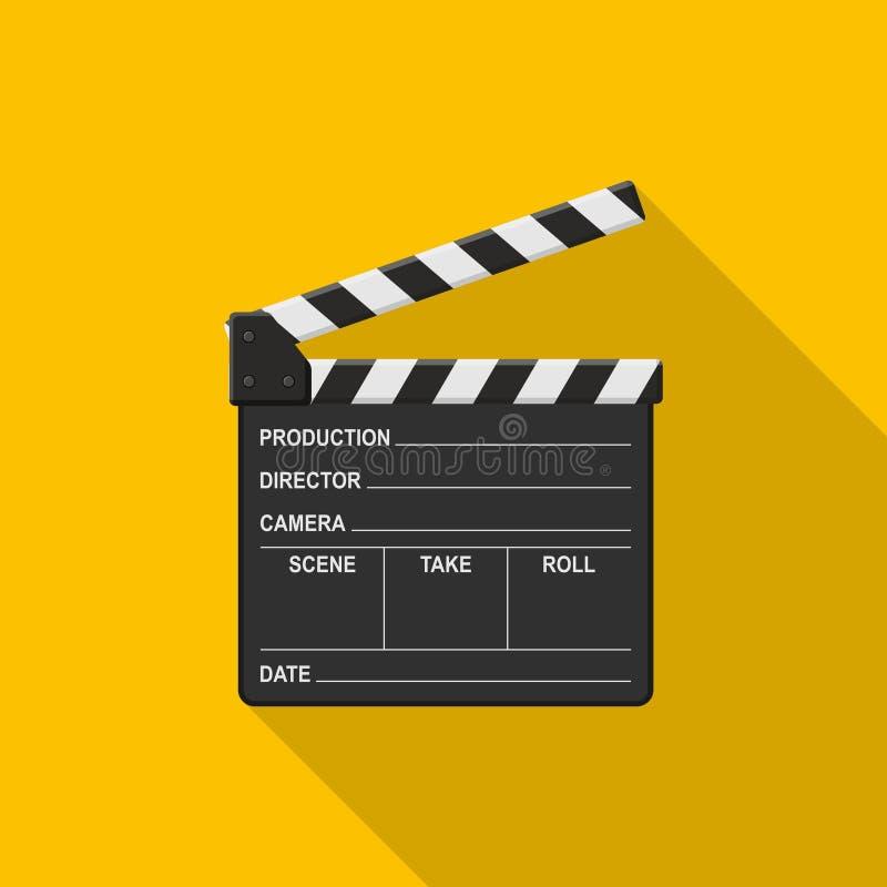 Clapper ταινιών εικονίδιο πινάκων στο κίτρινο υπόβαθρο με τη σκιά Κενός clapper κινηματογράφων κινηματογράφος διανυσματική απεικόνιση