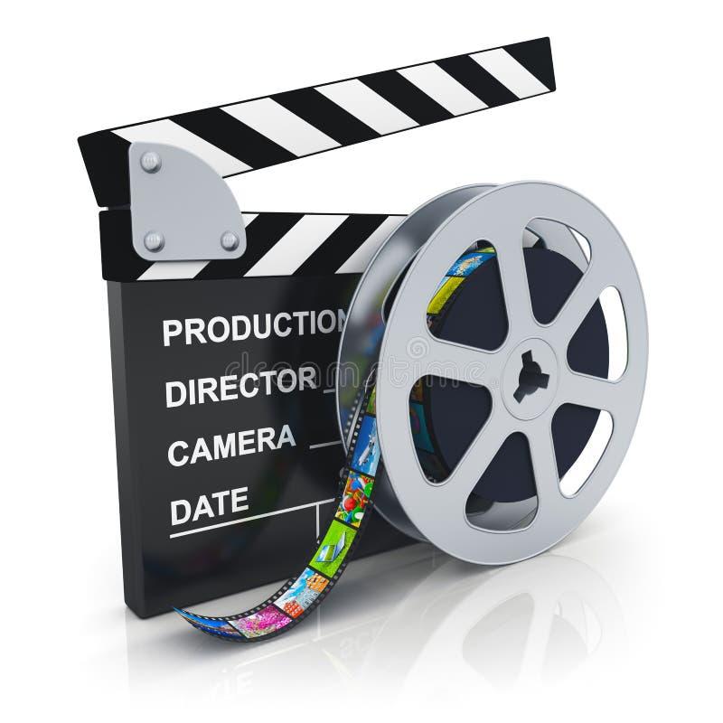 Clapper χαρτόνι και εξέλικτρο με το filmstrip διανυσματική απεικόνιση