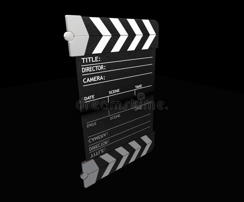 Clapper board. 3D render of a clapper board royalty free illustration