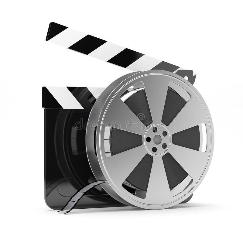 Clapper board with film reel stock illustration