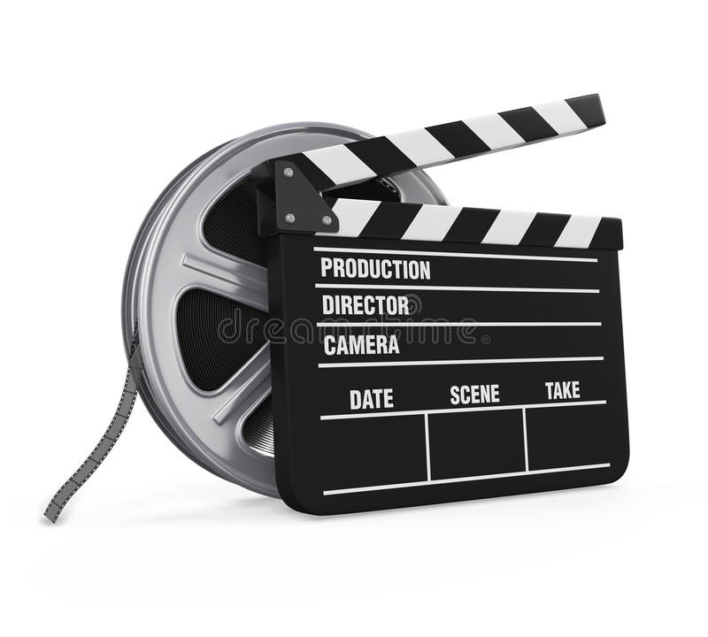 Clapper Board and Film Reel stock illustration
