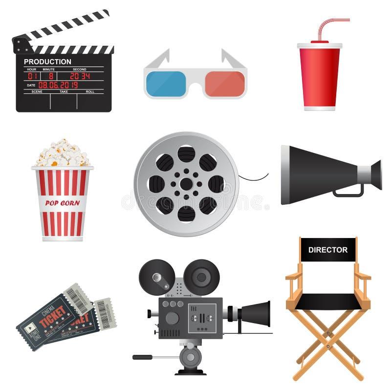 Free Clapper Board, Megaphone, Movie Tickets, Director Chair, Soda Cup, Popcorn, Reel, Retro Projector Stock Photo - 169167610