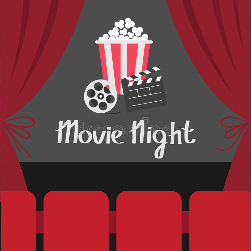 Clapper board Movie reel Popcorn. Open luxury red silk stage theatre curtain. Velvet curtains with bow. Seats hall. Film screen. M. Ovie night. Cinema premiere vector illustration