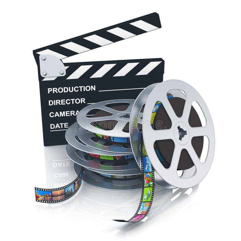 Download Clapper Board And Reels With Filmstrips Stock Illustration - Illustration of background, blackboard: 28865922