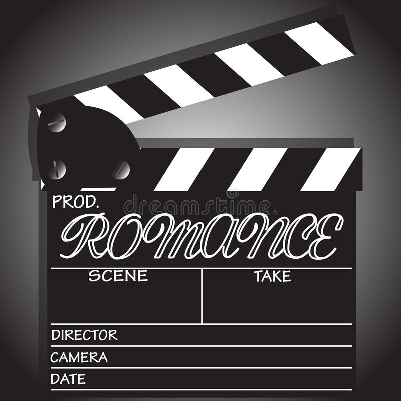 Clapper Board Romance. A director`s `Romance` clapper board on a white background vector illustration