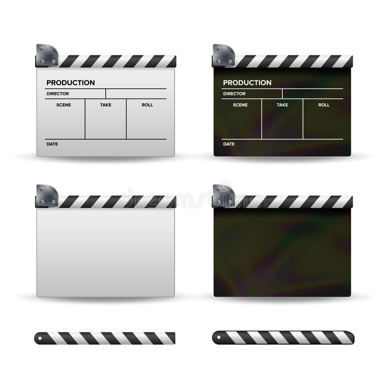 Clapper Board Vector. Set Of Movie Clapper Board. Template Symbol For Film And Video. Different Types. Clapper Board Vector. Set Of Movie Clapper Board. Template stock illustration