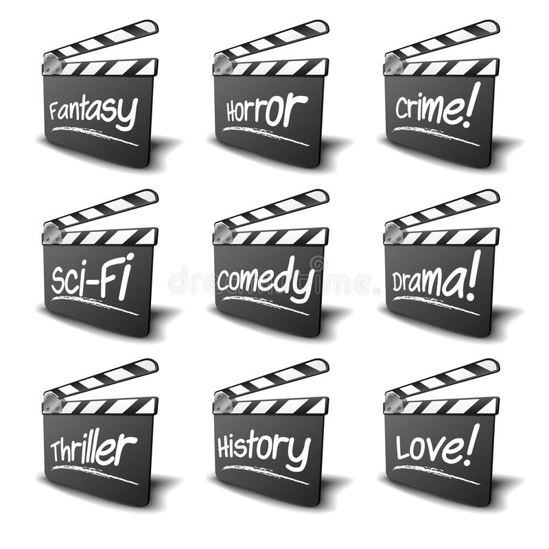 Clapper boards genres. Detailed illustration of a clapper boards with genre terms, symbol for film and video royalty free illustration