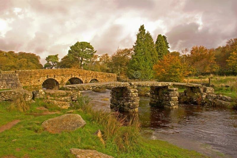 Clapper Bridge Dartmoor Nat Pa stock photo