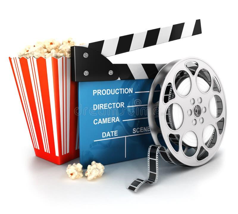 clapper för bio 3d, filmrulle och popcorn vektor illustrationer