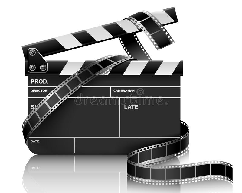 Download Clapper and film stock vector. Image of nobody, movies - 10236187