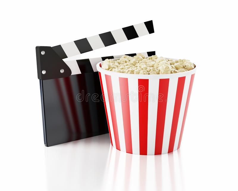 clapper och popcorn för bio 3d stock illustrationer