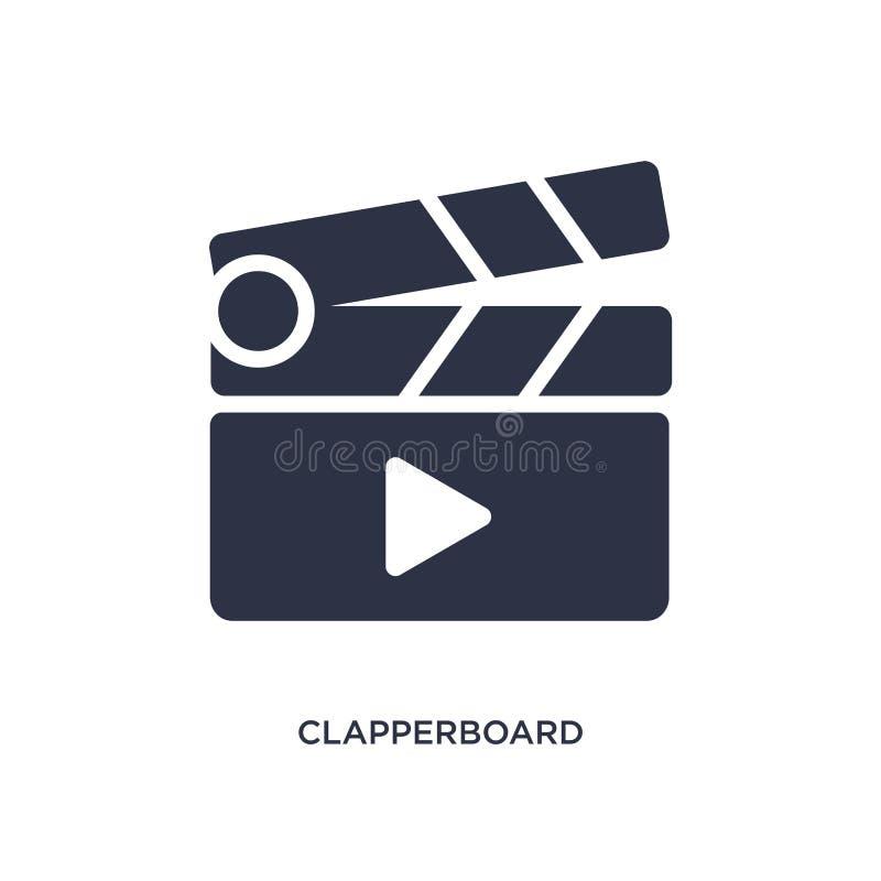 clapperboard παίξτε το εικονίδιο κουμπιών στο άσπρο υπόβαθρο Απλή απεικόνιση στοιχείων από τη μουσική και την έννοια μέσων διανυσματική απεικόνιση