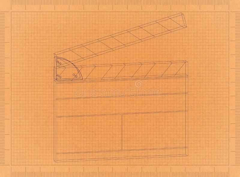 Clapperboard - αναδρομικό σχεδιάγραμμα απεικόνιση αποθεμάτων