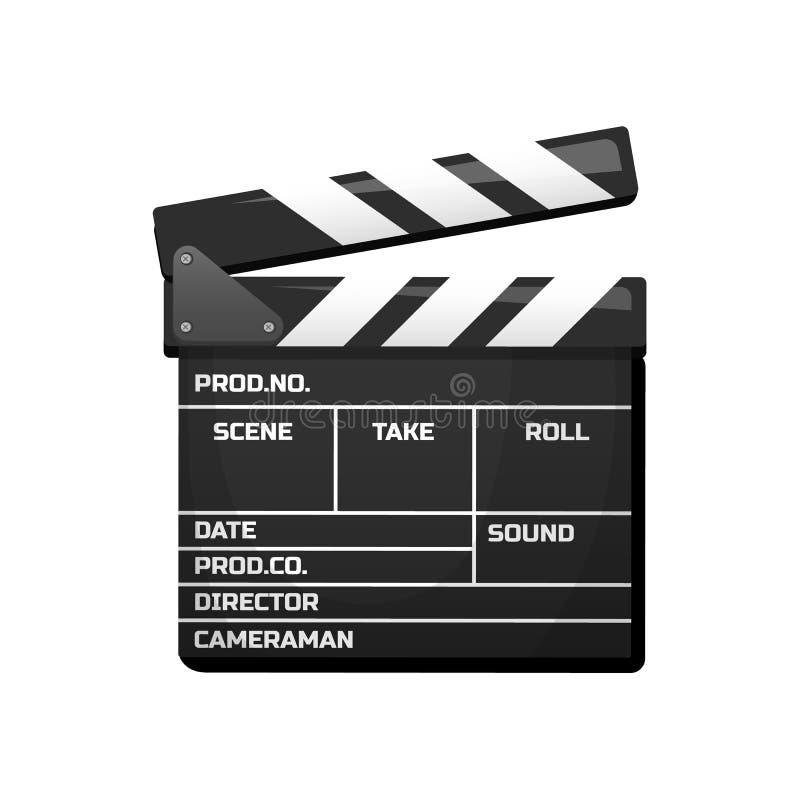 Clapperboard για τον κινηματογράφο Εκλεκτής ποιότητας κινηματογράφος, ψυχαγωγία και αναψυχή Αναδρομικό ύφος, κινηματογραφία και τ διανυσματική απεικόνιση