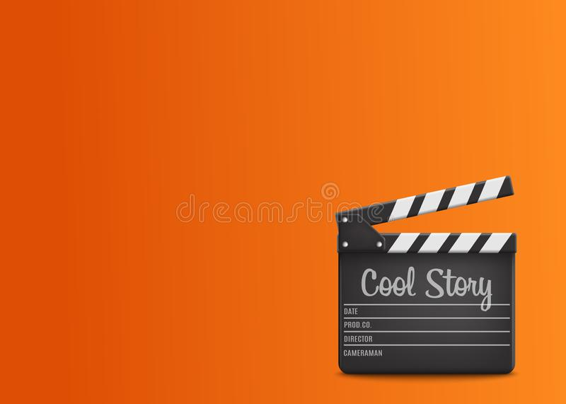 Clapperboard με τη δροσερή ιστορία κειμένων σχετικά με το πορτοκαλί υπόβαθρο διάνυσμα ελεύθερη απεικόνιση δικαιώματος