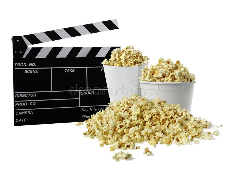 Clapperboard и попкорн кино изолированные на белизне стоковое фото