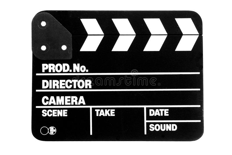 Clapperboard. Black clapperboard on a white background stock image