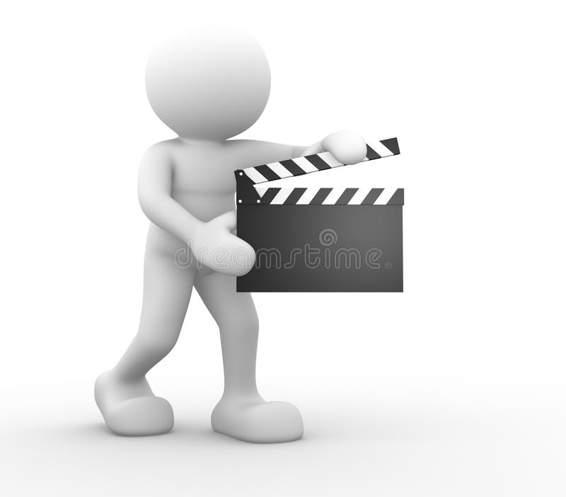 Clapperboard. 3d people -human character and a clapperboard. 3d render illustration stock illustration