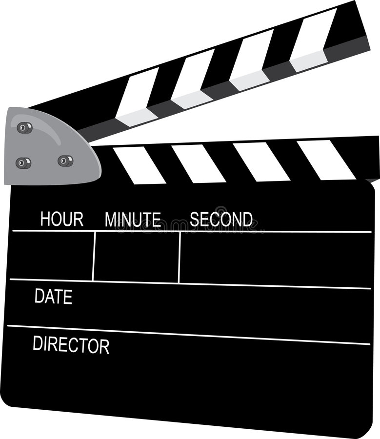 Clapperboard. The clapperboard is the combination of the chalkboard slate and the clapstick stock illustration