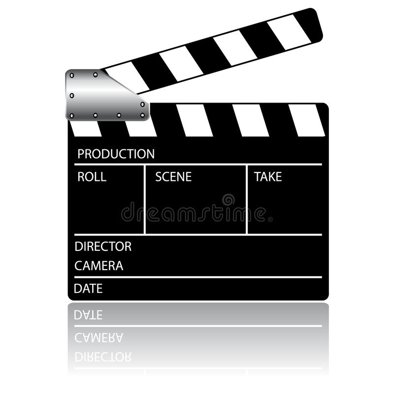 Clapperboard action. Vector illustration with a clapperboard with reflection royalty free illustration