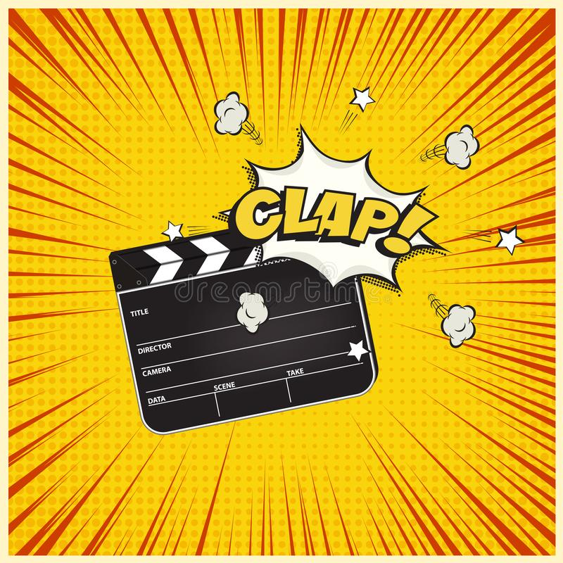 Clapperboard with Clap word speech bubble on vintage manga style background. Vector retro cinema illustration. Clapperboard with Clap word speech bubble on royalty free illustration