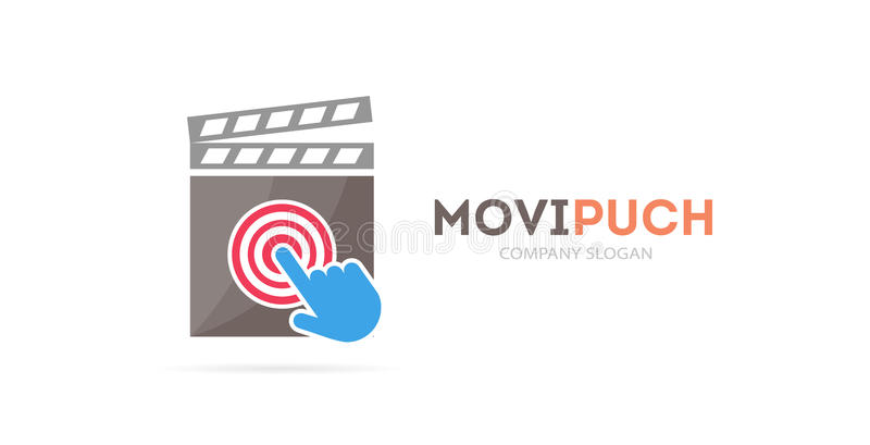 Clapperboard and click logo combination. Cinema and cursor symbol or icon. Unique movie and video logotype design royalty free illustration