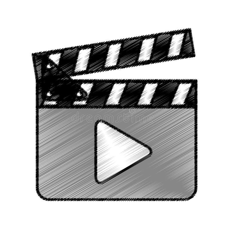 Clapperboard com botão do jogo ilustração royalty free