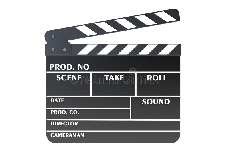 Clapperboard, 3D rendering. On white background royalty free illustration