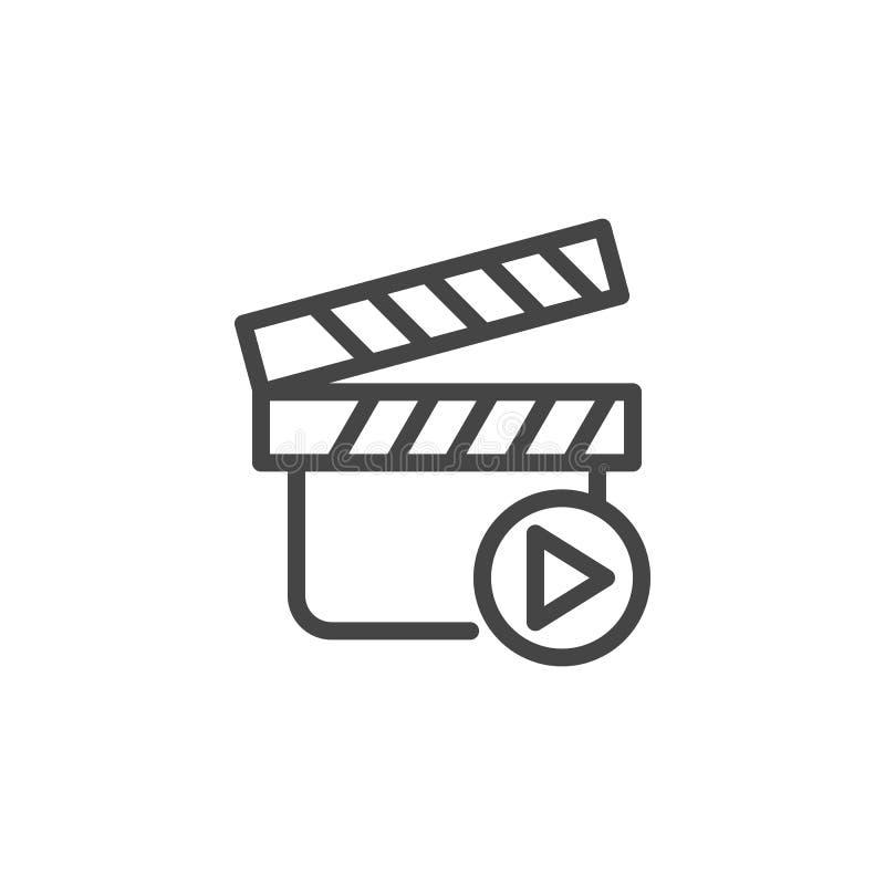 Clapperboard do filme e botão do jogo Ícone ou imagem vídeo da gravação de vídeo Imagem gráfica da Web do esboço da etiqueta do c ilustração do vetor