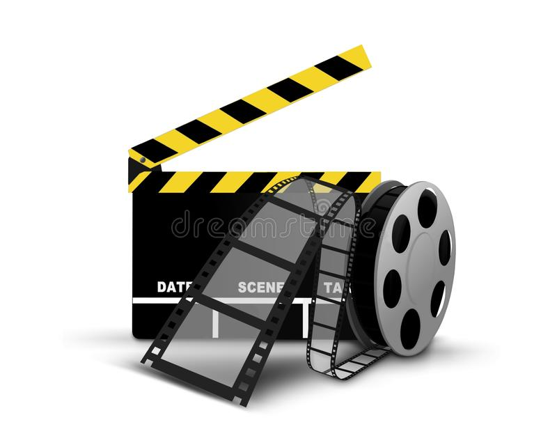 Clapperboard And Film Reel Royalty Free Stock Photos
